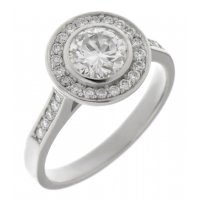 Classic round brilliant cut diamond rubover halo engagement ring