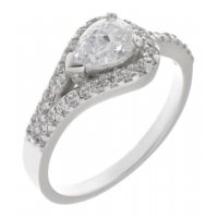Deco curved pear shape and round brilliant cut diamond halo ring