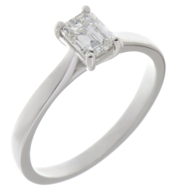 Kiss style Emerald cut diamond solitaire engagement ring