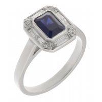 Law art deco emerald cut blue sapphire and diamond halo cluster ring