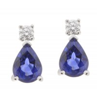 Classic pear shape blue sapphire and round diamond drop earrings