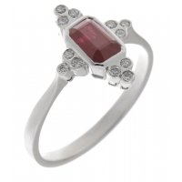 Delicate art deco style emerald cut ruby and diamond cluster ring