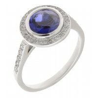 Round blue sapphire and diamond halo cluster ring