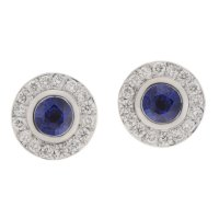 Classic round blue sapphire and diamond halo earrings