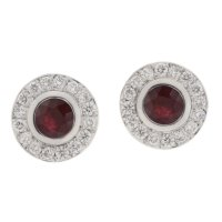 Classic round ruby and diamond halo earrings