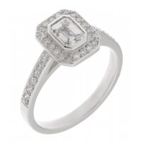 Classic rubover Emerald cut and round diamond halo cluster ring