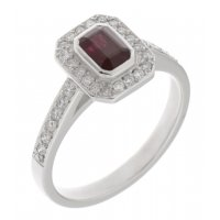 Classic rubover Emerald cut ruby and diamond halo cluster ring