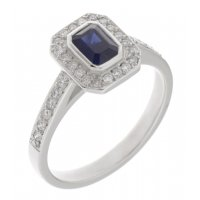 Classic rubover Emerald cut blue sapphire and diamond halo cluster ring