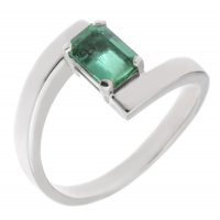 Troy modern octagon cut emerald crossover ring