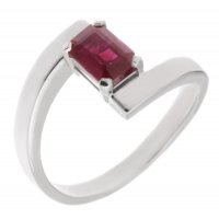 Troy modern emerald cut ruby crossover ring