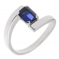 Troy modern emerald cut blue sapphire crossover ring