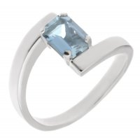 Troy modern octagon cut aquamarine crossover ring