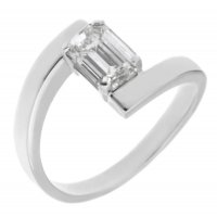 Troy modern emerald cut diamond crossover ring