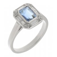 Law art deco emerald cut aquamarine and diamond halo cluster ring