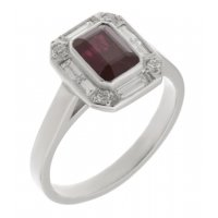 Law art deco emerald cut ruby and diamond halo cluster ring
