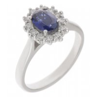 Crystal oval blue sapphire and diamond halo cluster ring