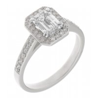 Classic claw set emerald cut and round diamond halo cluster ring
