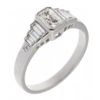 Art deco rubover radiant cut and baguette diamond engagement ring