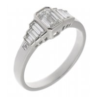 Art deco rubover emerald cut and baguette diamond engagement ring