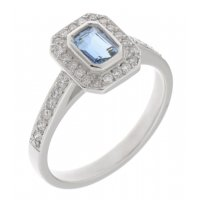 Classic rubover Emerald cut aquamarine and diamond halo cluster ring