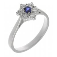 Daisy style claw set round blue sapphire and diamond cluster ring
