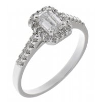 Prudence classic emerald cut and round brilliant diamond halo ring