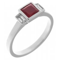 Savoy art deco square ruby and baguette diamond ring