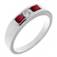 Classic channel set round brilliant cut diamond centre and ruby trilogy ring
