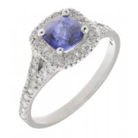 Cushion cut blue sapphire and round diamond halo ring with split shoulders
