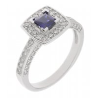 Chloe square cut blue sapphire and diamond halo cluster ring