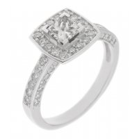 Chloe princess cut and round diamond halo cluster engagement ring