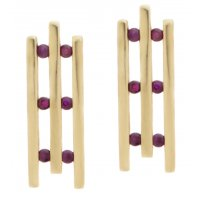 Art deco design bar set round ruby drop style earrings