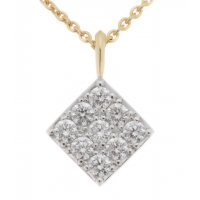 Round diamond square shaped cluster pendant