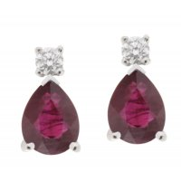 Classic pear shape ruby and round diamond drop earrings