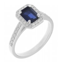Classic claw set emerald cut blue sapphire and diamond halo cluster ring