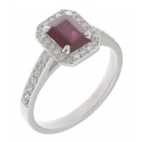 Classic claw set emerald cut ruby and diamond halo cluster ring