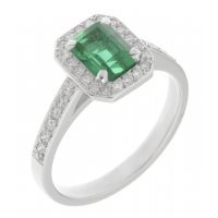 Classic claw set emerald cut emerald and diamond halo cluster ring
