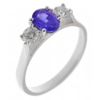 Rosaline oval shape tanzanite and round brilliant cut diamond trilogy ring