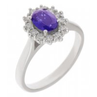 Crystal oval tanzanite and diamond halo cluster ring