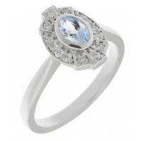 Art deco fan style oval shape aquamarine and diamond halo cluster ring