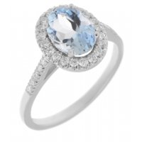 Classic claw set oval aquamarine with round diamond halo ring