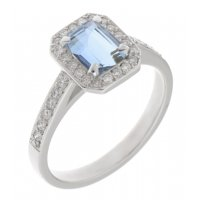 Classic claw set emerald cut aqua and diamond halo cluster ring