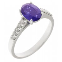 Bella classic oval tanzanite ring with round diamond set shoulders