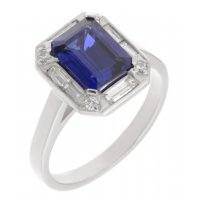 Law art deco claw set emerald cut blue sapphire and diamond halo cluster ring