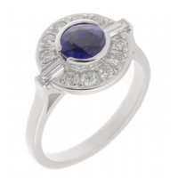 Clarice Art deco round blue sapphire and diamond halo cluster ring