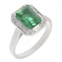 Law art deco claw set emerald cut emerald and diamond halo cluster ring