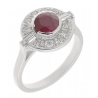 Clarice Art deco round ruby and diamond halo cluster ring