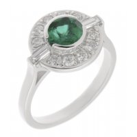 Clarice Art deco round emerald and diamond halo cluster ring