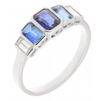 Art deco style emerald cut blue sapphire aquamarine and diamond ring