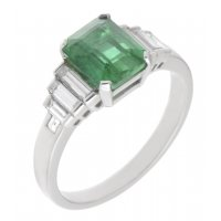 Art deco emerald cut emerald and baguette diamond ring large